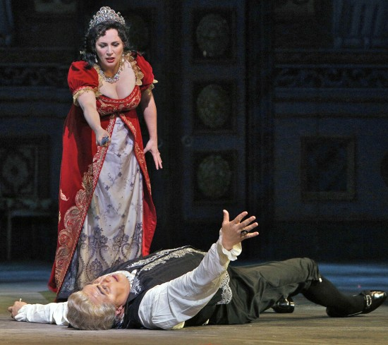 Tosca alive and Scarpia dying