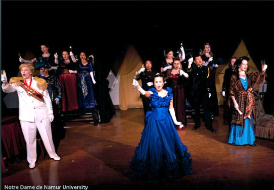7. Prince Orlofsky (Evan Bailey Hunt), Adele, and Ida (Jayne Amini) lead a toast to champagne