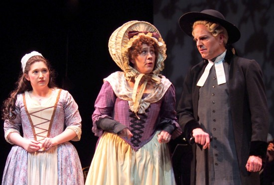 Rose Frazier as Constance, Kelly Powers as Mrs. Partlet, and Baker Peeples as Dr Daly