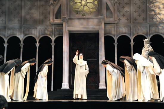 Cast 1: Mezzo-soprano Rebecca Krouner as Abbess; partial chorus of nuns