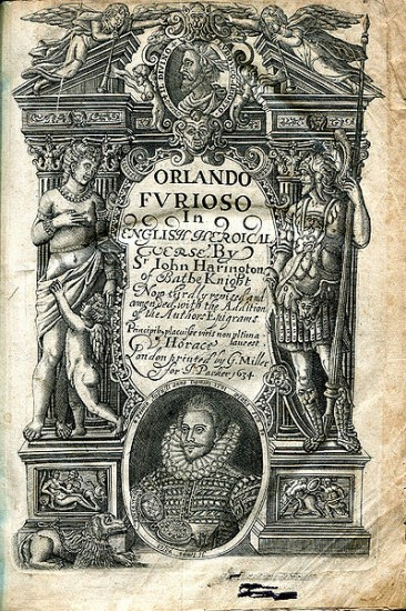 Title page of the third edition of John Harington's translation of Orlando Furioso, 1634. The first edition was 1591; courtesy Wikimedia Commons
