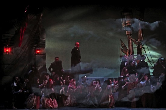 Opening chorus - storm scene - Center background (left to right): Roderigo (Adam Flowers) and Iago (Philip Skinner)