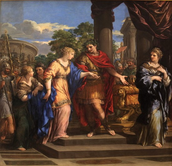Caesar giving Cleopatra the Throne of Egypt; original painting by Pietro da Cortona (1596-1669); courtesy Wikimedia Commons