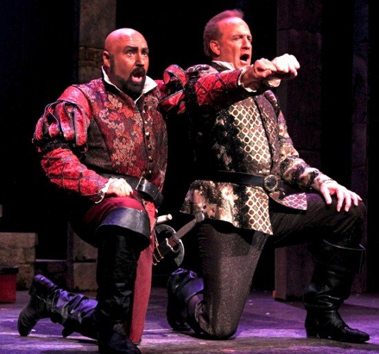 Otello (David Gustafson) and Iago (Philip Skinner) vow vengeance against Desdemona and Cassio