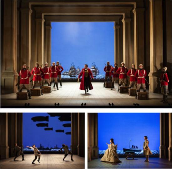 (T): Giulio Caesar (David Daniels); (L): Cleopatra (Natalie Dessay); (R): Cleopatra & Caesar
