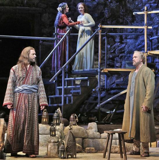 (foreground): Yeshua and Peter (William Burden); (platform): Miriam and Mary