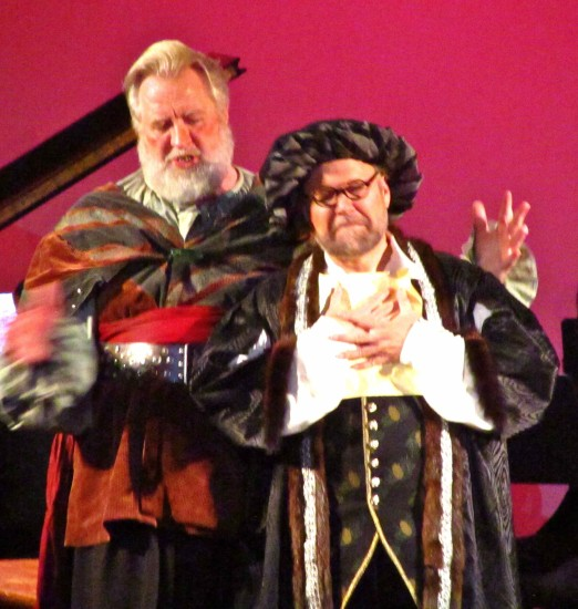 """Falstaff accepts a proposition from Master Ford (Jonathan Spencer), disguised as a """"Mr. Brook"""""""