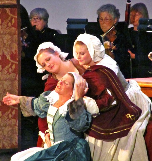Mistress Ford rehearses her role with the help of two servants (Maria Janus and Elenka Proulx)