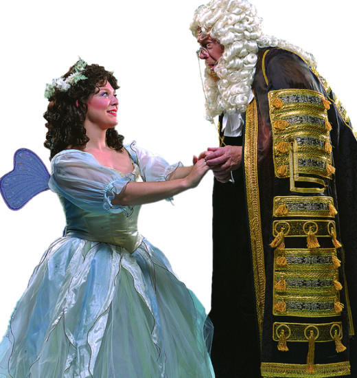 Molly Mahoney as Iolanthe and Rick Williams as the Lord Chancellor; photo by David Allen