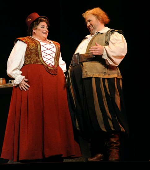 Patrice Houston as Dame Quickly; Steven Condy as Falstaff