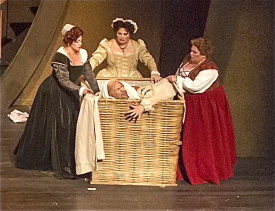 Buffy Baggott as Meg, Rebekah Camm as Alice, Patrice Houston as Dame Quickly, and Steven Condy as Falstaff; photo by Bob Shomler