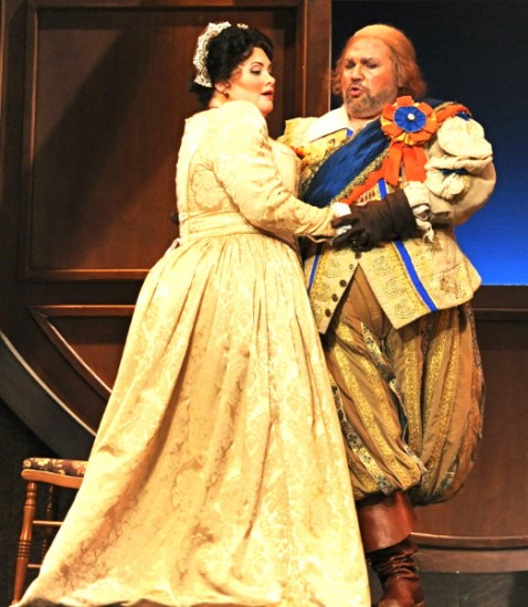 Rebekah Camm as Alice and Steven Condy as Falstaff