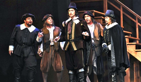 James Callon as Fenton, Jonathan Smucker as Bardolfo, Zachary Altman as Ford, Chris Coyne as Bardolfo, and Robert Norman as Dr. Caius