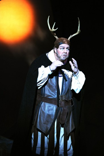 Scott Bearden as Falstaff, disguised as the Black Huntsman
