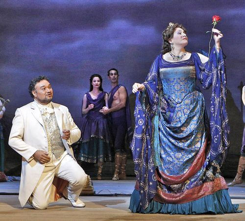 Act IV: Classical Greece; Faust offers a rose to Helen of Troy (Patricia Racette)