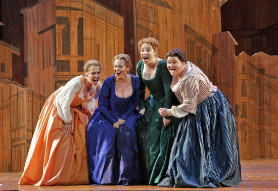 Nannetta (Heidi Stober), Alice Ford (Ainhoa Arteta), Meg Page (Renee Rapier), and Dame Quickly (Meredith Arwady) are amused by Falstaff's love letters