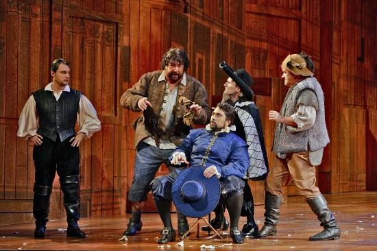 Fenton (Francesco Demuro) listens while Bardolfo, Ford (Fabio Capitanucci), Dr. Caius, and Pistola plot revenge