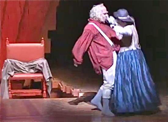 Falstaff bumps bellies with Quickly; video clip