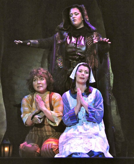 Cast 1: Hansel (Kindra Scharich), Gretel (Sara Gartland), and the Sandman (Antonia Tamer); photo by Pat Kirk