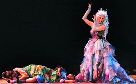 Cast A: Mezzo-soprano Lisa Chavez as Hansel, soprano Cecilia Violetta López as Gretel and soprano Christine Capsuto as the Dew Fairy; Photo by Pat Kirk