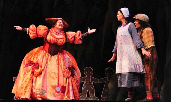 Cast 1: Tenor James Callon as the witch, soprano Sara Gartland as Gretel, and mezzo-soprano Kindra Scharich as Hansel; Photo by Pat Kirk