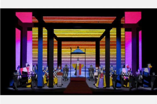 2012 San Francisco Opera Magic Flute; production design by Jun Kaneko; photo courtesy of San Francisco Opera